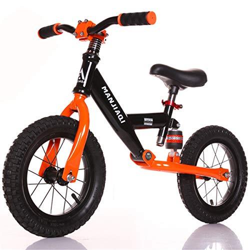 GJNWRQCY Balance Bike Baby Fahrrad Kinder Walker Bike mit Stoßdämpfer, aufblasbarer Gummireifen für 3-6 Jahre Kinder und Kleinkinder, Verstellbarer Sitz,Orange