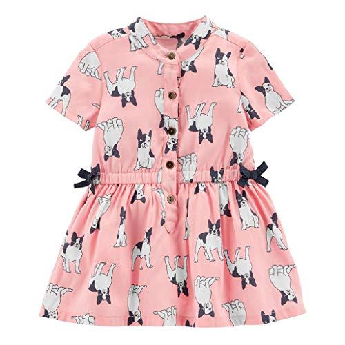 Carter's F18 Pink French Bulldog Woven dress-18M Pink