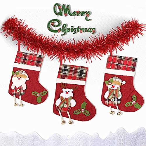 laqula Christmas Stockings - 3 Pack 11.4'' Small Xmas Hanging Stocking Decoration with 3D Snowman, Santa, and Reindeer for Christmas Home Decorations and Party Accessory