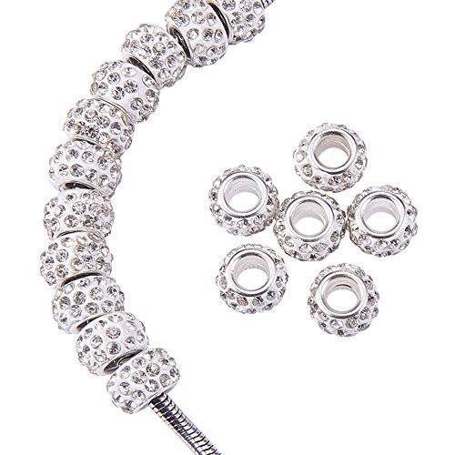 nbeads 100Pcs 12×7mm Klarem Kristall Polymer Clay Strass Europäischen Perlen Großes Loch Rondelle Spacer Perlen Für Europäische Schlangenkette Charm Armband