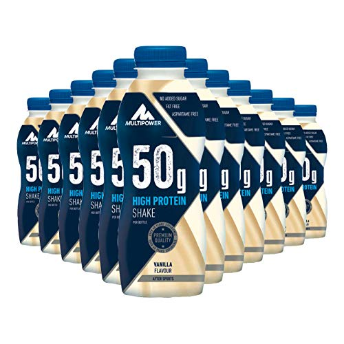 Multipower High Protein Shake Vanilla – fett- und kalorienarmer Fitness Shake für den Muskelaufbau – Eiweißshake mit Vanille-Geschmack – ready to drink – 12 x 500 ml
