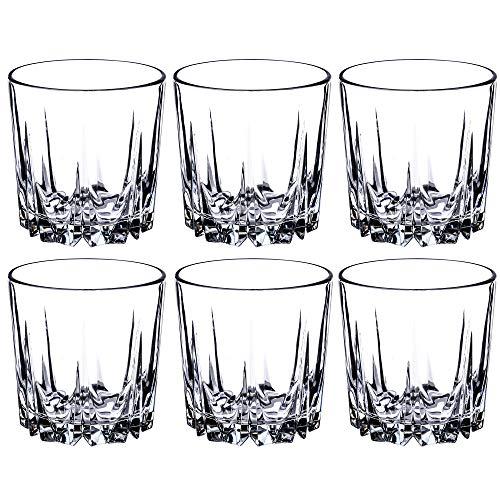 KADAX Trinkgläser aus hochwertigem Glas, 6er Set, Wassergläser, dickwandige Saftgläser, geriffelte Gläser für Wasser, Drink, Saft, Party, Cocktailgläser, Getränkegläser (niedrig, 300ml)