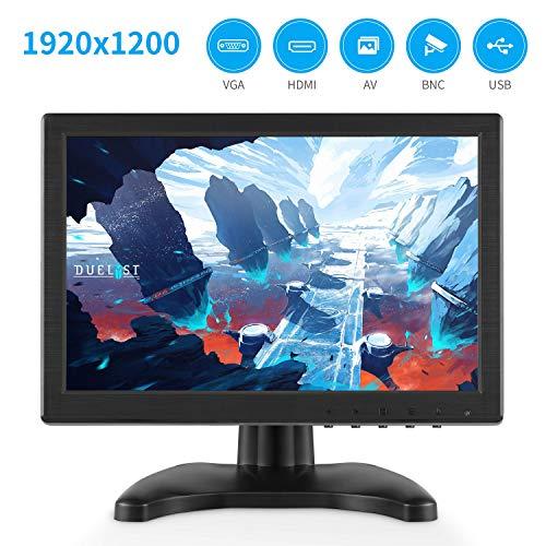Altavoces duales incorporados Sutinna Monitor de computadora de 10.1 Pulgadas admite entradas de Video BNC//AV//VGA//HDMI Enchufe DE LA UE Monitor de PC 1280 * 800 16:10 HD LCD con Pantalla LCD