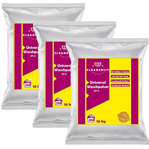 Cleanerist Universal Waschpulver | 3x10 kg Vollwaschmittel Grosspackung | bis zu 750 Waschladungen Waschmittel Pulver color weiß schwarz