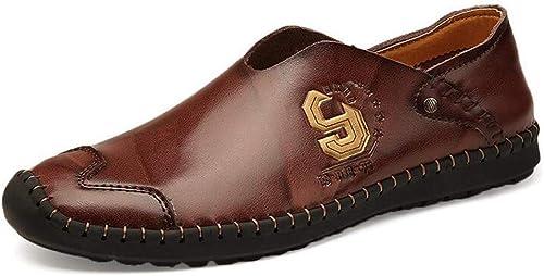 Herrenschuhe, Lederfeder Fall Neue Flachschuhe, Slip-Ons Driving schuhe, Loafers & Slip-Ons Lazy Schuhe Peas Walking Gym Schuhe,a,38