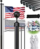 SCWN 25FT Black Flag Pole Kit,Sectional Flagpole with 5x3 USA Flag,Aluminum Extra Thick Heavy Duty Flag Pole for Outside,Yard,Residential or Commercial