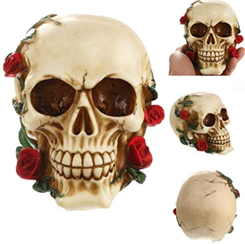 OYQQ Ornaments Statue Home Figure Decor Statues Africa Home Decor Skull For Decoration Human Resin Flowers Rose Skull Love Abstract Art Carving Statue