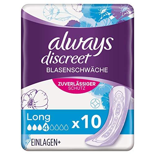 Always Discreet Inkontinenz-Einlagen Long (10 Stück) diskreter Schutz & hohe Saugstärke bei Blasenschwäche mit häufigem Urinverlust, neutralisiert Gerüche