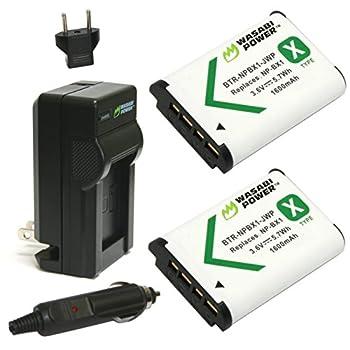 Wasabi Power NP-BX1 Battery  2-Pack  and Charger for Sony NP-BX1/M8 Cyber-Shot DSC-HX80 HX90V HX95 HX99 HX350 RX1 RX1R II RX100  II/III/IV/V/VA/VI/VII  FDR-X3000 HDR-AS50 AS300 ZV-1 etc black  KIT-BTR-NPBX1-LCH-NPBX1-01