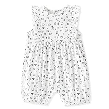 Zanie Kids Baby Girl Short Sleeves Romper Clothes Summer Cute Cotton Outfit for Infant Prints Overall Toddler Onesies Cat 9-12 Months
