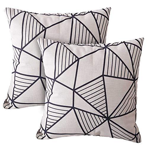 Wionee - Juego de 2 fundas de almohada decorativas con estampado geométrico en blanco y negro, diseño moderno de granja para sofá, cama, sala de estar, silla, 45,7 x 45,7 cm