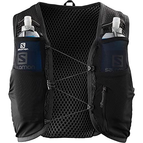 SALOMON Active Skin 8, Gilet d'Idratazione Unisex con SensiFit e Struttura Quick Link per Trail Running, Nero/Ebano, XL