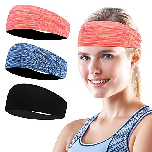 Flintronic Sport Stirnband, 3 Stück Unisex Headband, Elastisches Anti-Rutsch Schweißableitendes Schweißband Stirnband für Männer Frauen-Tennis, Laufen, Crossfit, Fitness...