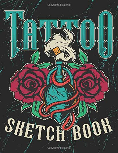Tattoo Sketch Book: Design Notebook to Create Your Own Tattoo Art Work  - Tattoo Heart and Roses Black (TT 8.5' x 11'  106pages)