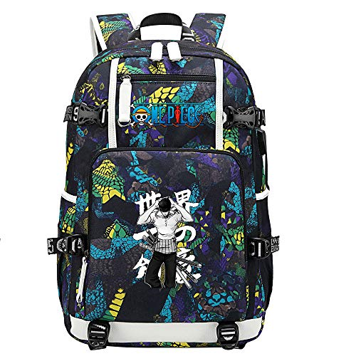 ZZGOO-LL One Piece Monkey·D·Luffy/Roronoa Zoro Shoulder Bag Outdoor Backpack for Plenty of Storage Bag USB Unisex-D