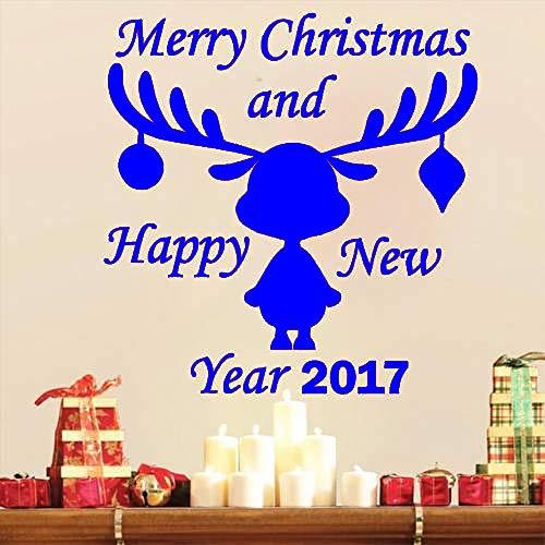 xingbuxin Deer Pattern Wall Decal Feliz Navidad 2017 Feliz Año Nuevo Vinilo Etiqueta de La Pared Ventana Decoración del Hogar Habitación de Niños Arte 4 42x42cm
