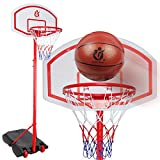 ZnMig Portable Basketball System Easy to Assemble Indoor and Outdoor Large Basketball Hoop Can Be Lifted and Lowered All Metal Brackets Can Be Moved (Color : Red, Size : 1.60-2.30m)
