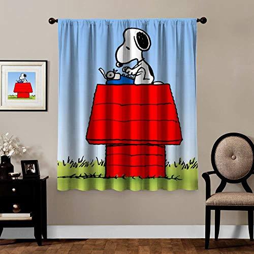 Snoopy - Cortinas opacas (5), diseño de Snoopy (5 unidades, con aislamiento térmico, oscurecimiento de ventana, para dormitorio, decoración de habitación de animales y niñas, 1 paneles, 182 x 160 cm