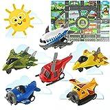 HERSITY 7 Véhicules Jouets d'avion Métal Mini Avion Jouet avec Tapis de Jeu Cadeaux pour Enfant