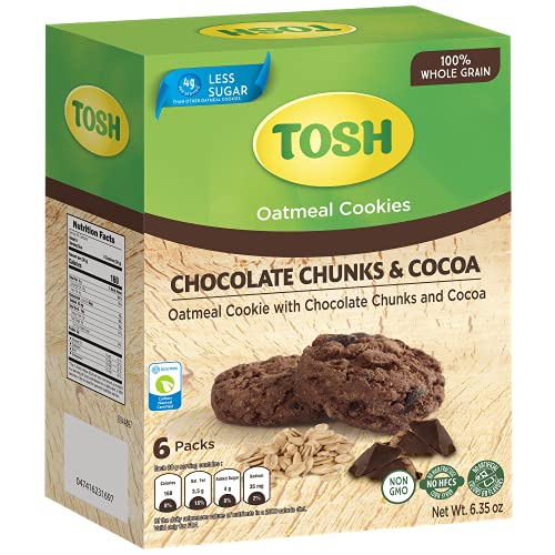 Tosh Oatmeal Cookie with Chocolate Chunks and Cocoa 6.35oz (Pack of 1) | No artificial flavor or colors | 100% whole grain