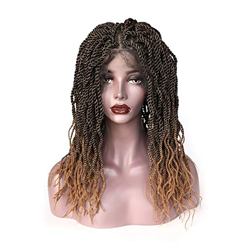 ZigZag Hair Senegalese Twist Crochet Hair Braids Glueless Synthetic Lace Front Wig for Black Women Small Havana Mambo Twist Crochet Braiding Hair Full Head Wig with Baby Hair (18inch, 1B/27)