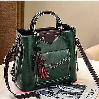 WTYD Single Shoulder Bag Leisure Fashion PU Slant Shoulder Bag Tassel Bucket Bag Handbag(Black) (Color : Green)