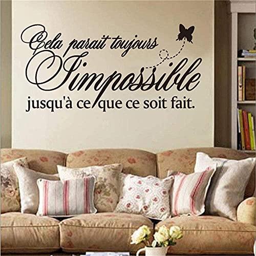 Etiqueta engomada de las reglas de la familia francesa Mural de pared de vinilo etiqueta de la pared calcomanía papel tapiz artístico sala de estar decoración del hogar decoración de la casa 55x95cm