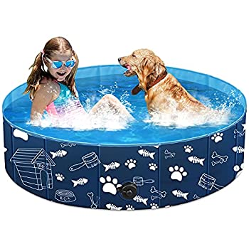 Unido Foldable Dog Pet Pool for Kids Cats Kiddie Pool Toys for Toddlers Boys Girls Gifts Bath Swimming Pool for Large Dogs Cats in Backyard Garden