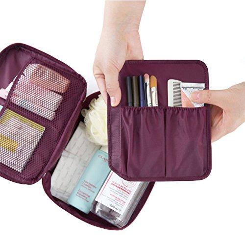 Contever moda Donna Borsa da Viaggio Sacchetto della lavata Pacchetto multifunzionale bagagli Trucco Cosmetici Organizer Tasca -- Vino Rosso