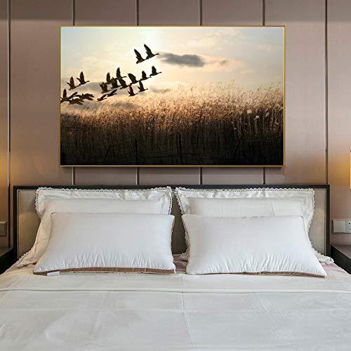 YuanMinglu Moderne Landschaft wandkunst Poster und drucke leinwand malerei Wohnzimmer Gans und Schilf rahmenlose malerei 30x45 cm