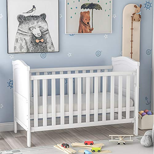 Baby Cot Bed with Mattress Included Wooden Baby Crib 124x65x85cm Bedside Crib with 3 Position Height Adjustable 2-in-1 Convertible Cots Baby Bed Junior Bed for Baby Toddler (White, Not with Drawer)