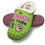 Zapatillas de casa Tu Amistad me Mola un Huevo Verde Talla 36