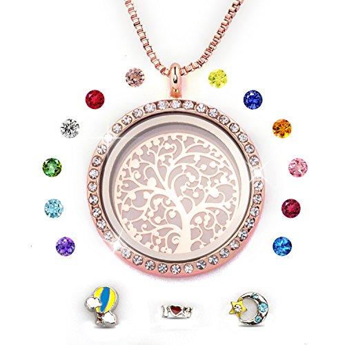 Addmluck Rose Gold,Stammbaum des Lebens Floating Charm Living Memory Medaillons Magnetverschluss Halskette Alle Birthstone Charms enthalten(Rose Gold)
