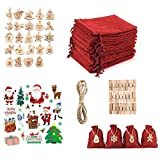 Shengruili Bolsa de Regalo Navidad Decoración,Yute para Calendario de Adviento con Pegatinas Navideñas, Set de 24 Bolsas de Yute,Bolsa de Regalo de Cáñamo de Yute,Bolsa de Yute Algodon (Red Bag)