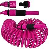 Edco Kinzo Gartenschlauch Spirale 10m - Schlauch - Wasserschlauch mit Farbauswahl (pink)