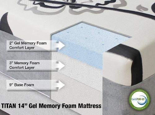 """Hot Sale Titan 14"""" Gel Memory Foam Mattress by Heavenly Bedding 100% CertiPUR Foam - 25-Year Warranty (Queen)"""