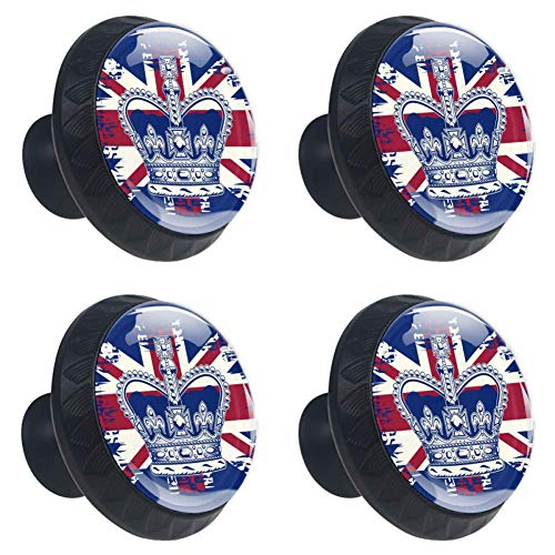 Crown On UK Flag 4pcs Round Cabinet Drawer Knob Drawer Pulls Knobs for Cupboard,Bookcase,Dresser,Wardrobes