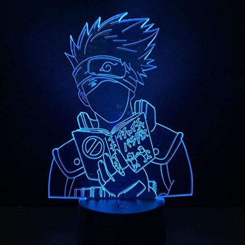 Lámpara de ilusión 3D Luz de noche Led Anime Naruto Hatake Kakashi para niños Lámpara de mesa decorativa novedosa para juguetes para el hogar