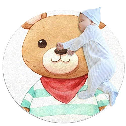Dessin animé ourson brun Tapis de jeu bébé Décor de pièce rond et antidérapant doux pour les tout-petits enfants 80cm