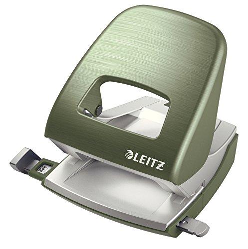 Leitz Büro Locher aus Metall, Für 30 Blatt, Anschlagschiene mit Formatangaben, Ergonomisches Design, Seladon grün, Style Serie, 50060053