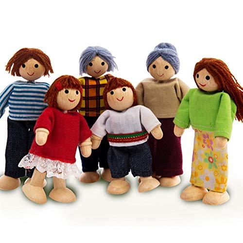 coil.c Happy Family Puppenhaus Set Von Hape   Puppenfamilien-Set, Einzigartiges Accessoire Für Das Puppenhaus Aus Holz Für Kinder, Einfallsreiches Spielzeug - Geeignet Für Kinder Ab 3 Jahre