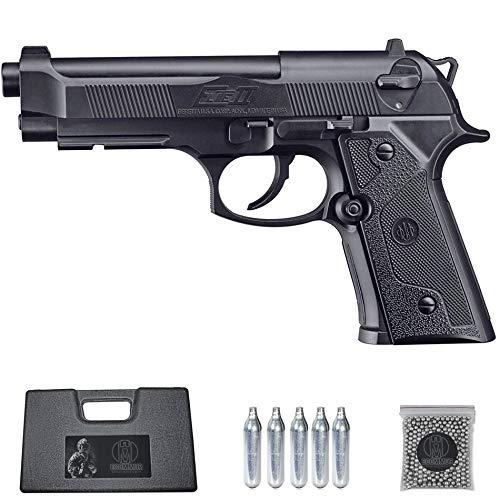 Ecommur. Beretta Elite II umarex | Pistola de perdigones (Bolas BB s de Acero) de Aire comprimido semiautomática 4,5mm + maletín + balines y CO2