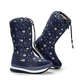FMBK666 Botas para la Nieve para Mujer Botas para Caminar de Invierno a Media Pantorrilla hasta la Rodilla Piel cálida Resistente al Agua Calzado Impermeable para Exteriores