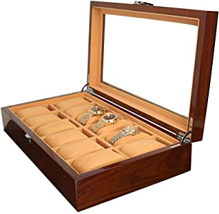 Watch Box Organizer, Watch Box 12 Slots Watches Jewelry Storage Wood Material Display Case Organizer Glass Top Flip Cover ...