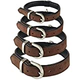 iDeals <span class='highlight'>UK</span> HAND-CRAFTED BLACK SOFT LEATHER DOG COLLAR TRAINING LABRADOR STRONG LARGE (L 46cm-56cm, BROWN)