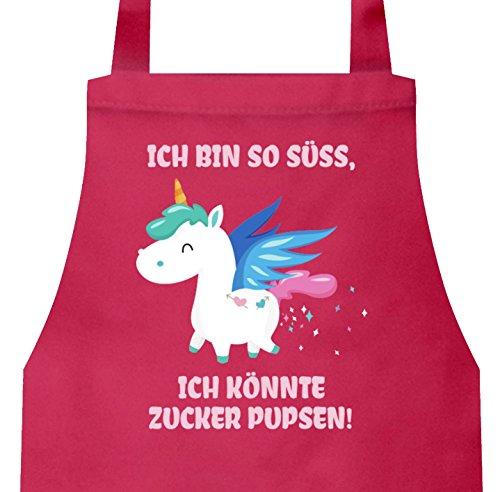 ShirtStreet süßes Unicorn Glitzer Barbecue Baumwoll Grillschürze Kochschürze Einhorn - Zucker Pupsen, Größe: onesize,Pink