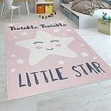 Paco Home Alfombra Habitación Infantil Niña Lavable Estrella Adorable Frase Rosa Blanco,...