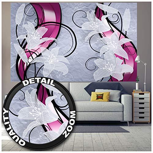 Bloemen muurschildering decoratie - Witte Lilie grafische rankknoppen bloemen madonnelie lelie planten modern abstract fotobehang wandbehang fotoposter