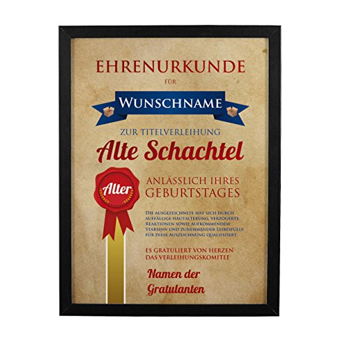 Herz & Heim® Wandbild Ehrenurkunde Alte Schachtel zum Geburtstag mit Namensdruck