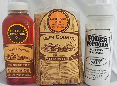 Find Discount Amish Ladyfinger Style Popcorn, Butter Flavored Oil, & Salt Bundle: Nut & Gluten Free,